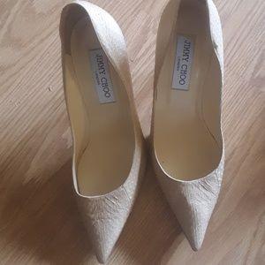 Jimmy Choo tan alligator leather heels size 7 1/2